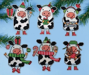 Christmas Cows Ornaments #14 Count Plastic Canvas Kit